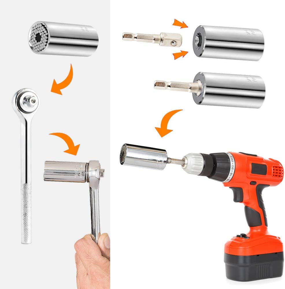7-19mm with Wrench Power Drill Adapter Sportsvoutdoors Multi-function Socket Wrench Set Handy DIY Tools Gadgets Gifts for Men//Dad//Husband//Boyfriend//Handyman//Women Universal Socket Gifts for Men