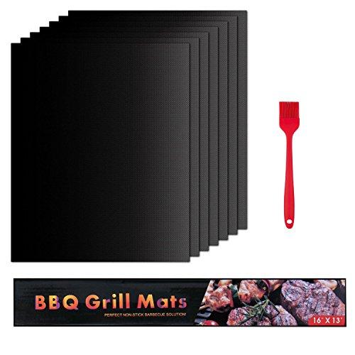 Tintec Grillmatte 6er Set BBQ Antihaft eignet bis 260°C Backmatte Wiederverwendbar Grillfolie 40x33 cm Plus Bürste für Holzkohle Gas Grill und Backen PFOA-Frei