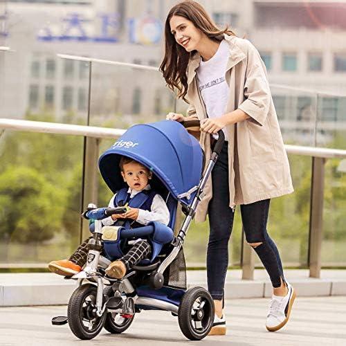 QXMEI 3 In 1 Kinder Dreirad Ab 7 Monate Bis 5 Jahre 3-Punkt-Sicherheitsgurte Parking Brakes On The Two Rear Kinderdreirad Verstellbar Schubstange Dreirad Für Kinder Belastbarkeit Bis 25 Kg,Blau