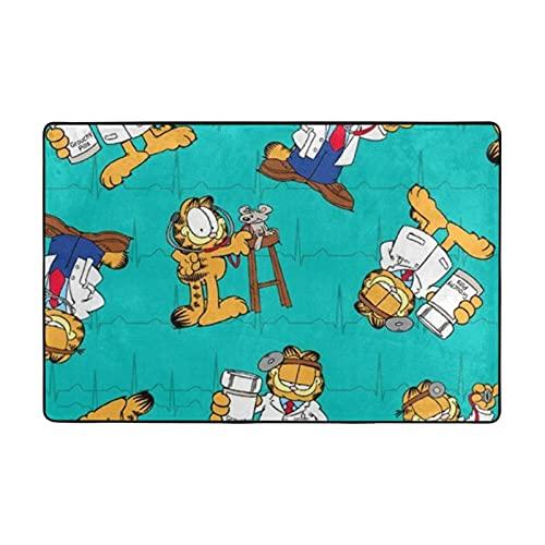 Garfield Alfombra adecuada para sala de estar, dormitorio, zona de niños, decoración de casa de arte suave y cómoda, 91 x 60 cm