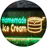 Home Made Ice Cream Illuminated Dual Color LED看板 ネオンプレート サイン 標識 緑色 + 黄色 300 x 210mm st6s32-i0518-gy