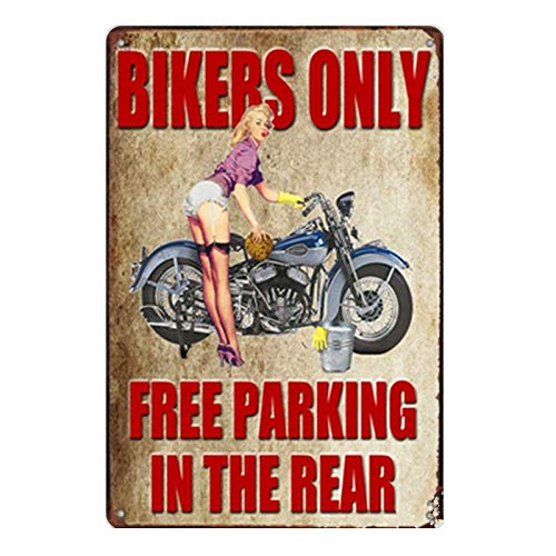 Bikers Only Free Parking In The Rear Garage Rules Vintage Metal Signs Tin Plaques Wall Art Poster for Garage Man Cave Cafee Bar Pub Club Home Decoration 12