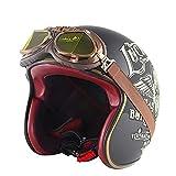 NBSMN Cascos De Media Cara De La Motocicleta, Retro Unisex Unisex Cruiser Scooter Motorcycle Open Face Casco, ECE/Dot Aprobado. E-L