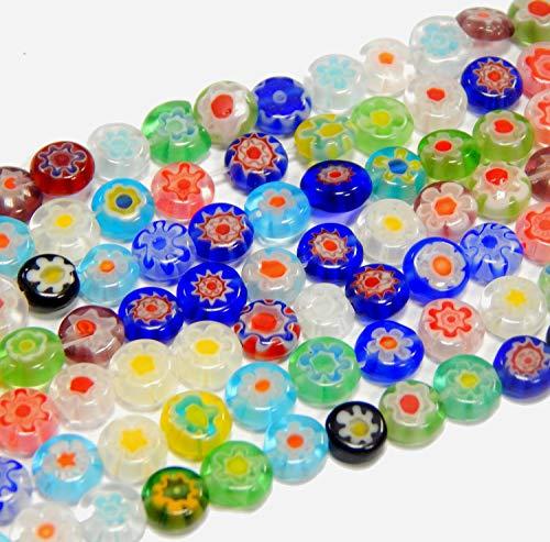 Perlin - Millefiori Perlen Glas Münze 6mm Glasperlen 2 Stränge 96Stk Bunte Mix Handgearbeitete Perle Lampwork Beads D83G x2