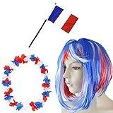 Sonia Originelli Fan-Paket-4 WM Fußball Kurzhaar Perücke Hawaiikette Flagge Party Farbe Frankreich
