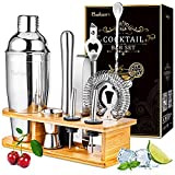 Baban 10 Pezzi Cocktail Shaker Set, Squisita Cornice di bambù, Acciaio Inossidabile Shaker 750ml - Kit Barman Professionale, Regali da Uomo