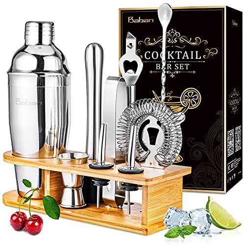 Baban Cocktail Shaker Set 9+1Pezzi, Squisita Supporto in Bamboo, Acciaio Inossidabile Shaker 750ml, Manuale del Prodotto nel Colore Oro Nero - Kit Barman, Regalo Perfetto, Meglio per Bar e Casa