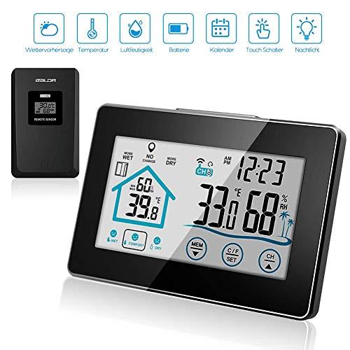 SKY CASTLE Wetterstation,Digital Thermometer mit außensensor Funksensor-Wecker Wettervorhersage mit Wetterwarnung, weiße Hintergrundbeleuchtung und Uhrzeit Anzeige Vorhersage