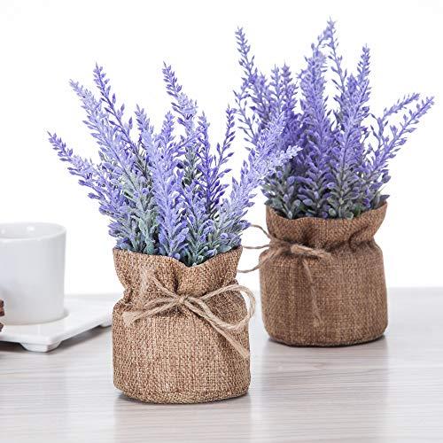 Artificial Mini Potted Flowers Plant Lavender for Home Decor Party Wedding Garden Office Patio Decoration (Linen 2set)