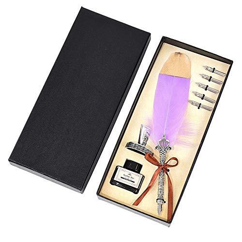 Schreibfeder Luxus-Füllfederhalter Set bunte Weinlese-Feder-Stift Klassische Kalligraphietinte Pens Dip Quill for Schüler Kugelschreiber Gift Box Set (Color : 7)