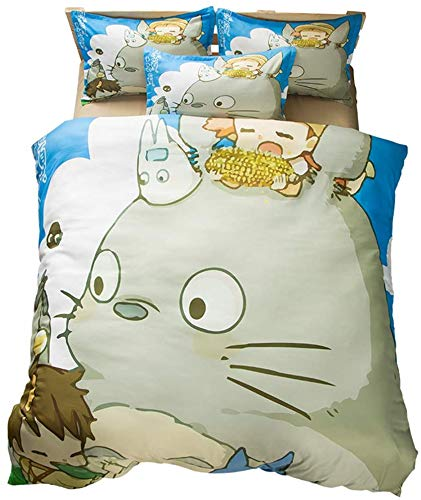 TIANDU Bedding 3 Piece Set Duvet Cover,Totoro Adult/Child Cartoon Single Bed King Double Bed Non-Fading Polyester Comfortable Bedding,01,UK Super King