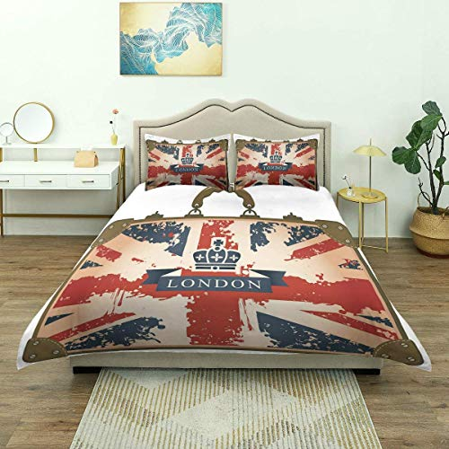 Duvet Cover,Vintage Travel Suitcase with British Flag London Ribbon and Crown Image,Luxury Bedding Set Comfy Lightweight Microfiber (3pcs Quilt Cover)