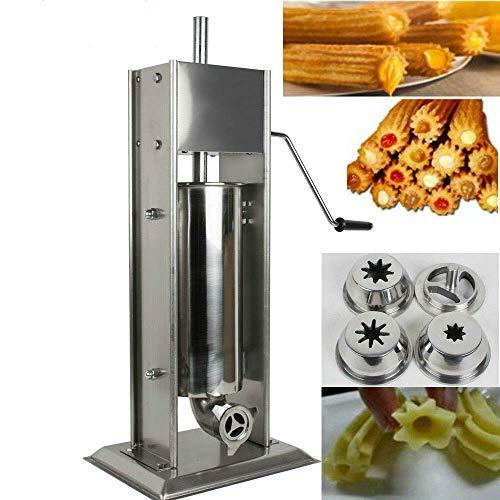 TX® Churreras Churros Máquina Máquina de llenado de acero inoxidable comercial Manual Churro Maker donut Máquina con 1 molde sólido, 2 abrasivos huecos y 1 mango (3L/7 libras)