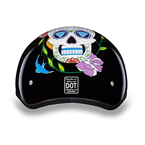 Daytona Helmets Motorcycle Half Helmet Skull Cap- Diamond Skull 100% DOT Approved