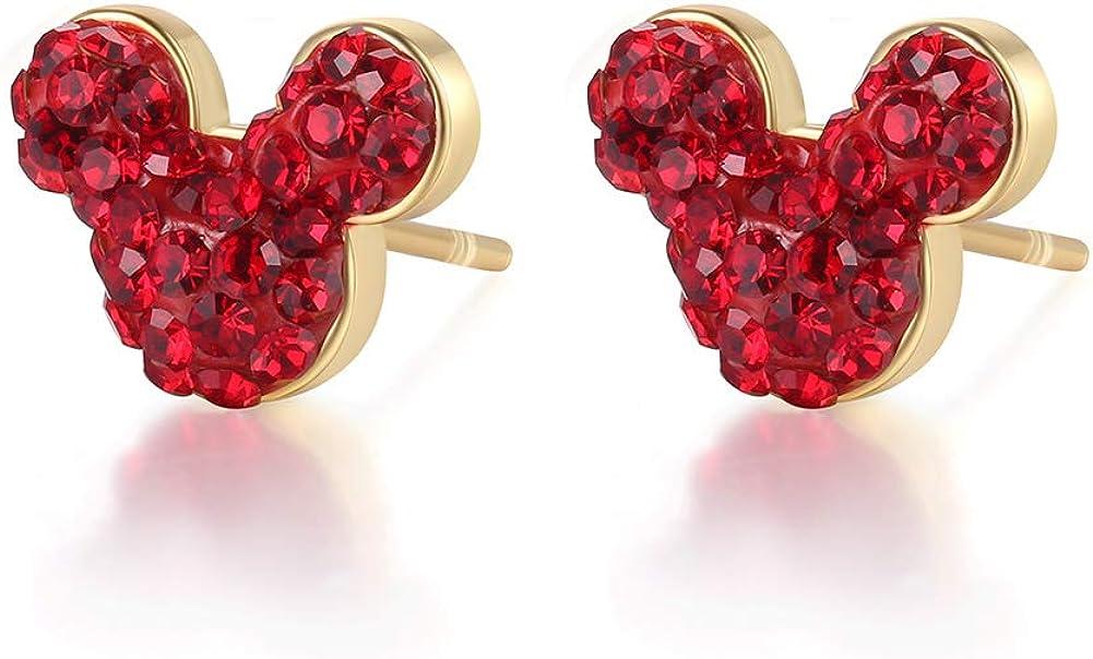 Deelan Fashion Mickey Mouse Stud Earrings For Women Girls Red Lucky Crystal Jewelry Festival Gift Earring