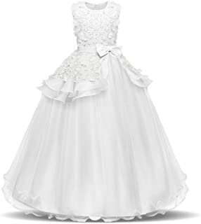 NNJXD بدون آستین گلدوزی دخترانه شاهزاده خانم گل پیراهن لباس کودکان و نوجوانان پیراهن لباس راحتی