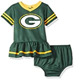 NFL Green Bay Packers Team Jersey Dress and Diaper Cover, green/yellow Green Bay Packers, 0-3 Months