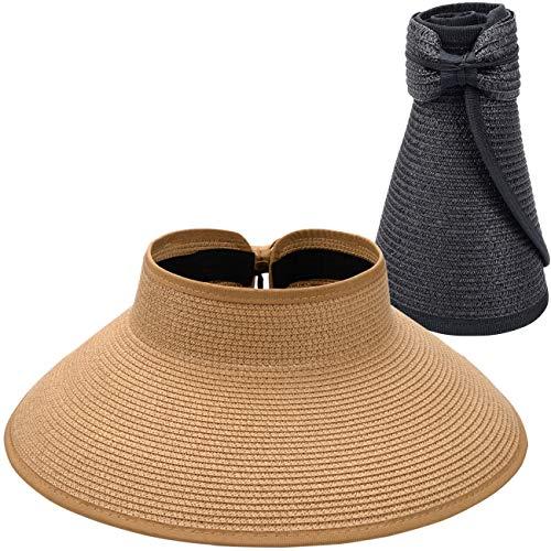 MAYLISACC 2 Piezas de Sombreros de Visera Mujeres, Sombrero de Sol Enrollable con Elegante Bowknot, Visera de Paja de ala Ancha Verano, Caqui y Negro