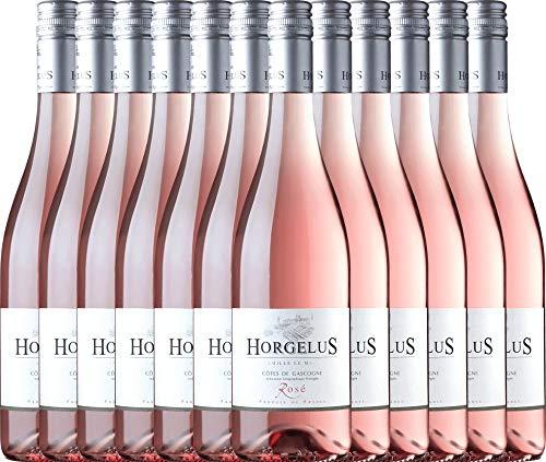 VINELLO 12er Weinpaket Roséwein - Horgelus Rosé IGP 2020 - Domaine Horgelus mit Weinausgießer | trockener Sommerwein | französischer Roséwein aus der Gascogne | 12 x 0,75 Liter