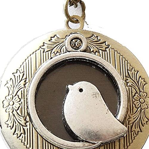 chaosong shop Medallón de pájaro ec-JoyeríaEstilo Vintage Amor Plata Bird Locket ec-Ec