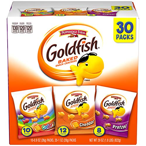 Pepperidge Farm Goldfish Classic Mix Crackers, 29 oz. Variety Pack Box, 30 Count Snack Packs