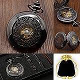 Steampunk Retro Negro Hueco Flor Diseño Mecánico Reloj De Bolsillo Mano Winding Análoga Vintage Reloj Mejor Cumpleaños Regalo Set