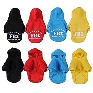 Yunt Fashion Pull Vetement Manteau d'hiver Veste A Capuche FBI pour Chien Chiot