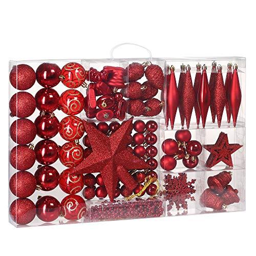Deuba Weihnachtskugeln 102er Set Weihnachtsdeko matt glänzend Glitzer Baumspitze Christbaumkugeln rot Ø 3 4 6 cm