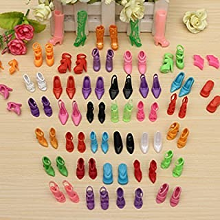 Maersi 40 Pairs Different High Heel Shoes Boots Accessories for Barbie Doll