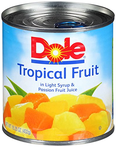 DOLE Mixed Tropical Fruit in Light Syrup and Passion Fruit Juice 1525 Ounce Can Pack of 12
