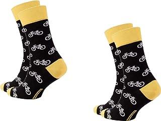 Diwari Happy - Calcetines divertidos para hombre, diseño de bicicleta, 2 unidades, talla 42/43, color negro, blanco y amarillo.