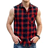 LOGEEYAR Men Plaid Sleeveless Shirt Leisure Button Down Vest Shirt Red