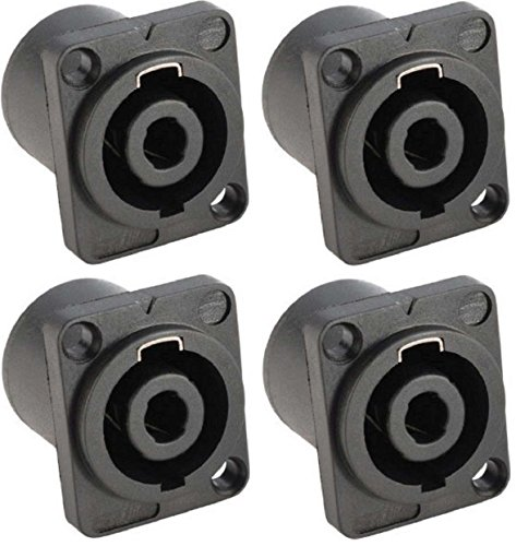 4x Adam Hall 7876 - PA Lautsprecher Einbaubuchse 4-polig, Speaker Lautsprechereinbaubuchse