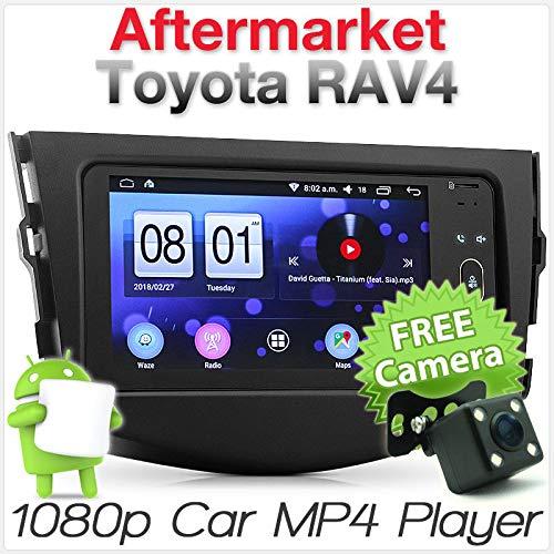 TUNEZ® Kit de façade d'autoradio Android GPS MP3 MP4 USB de remplacement compatible avec Toyota RAV4 années 2005 2006 2007 2008 2009 2010 2011 2012
