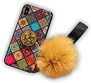 Mobile Phone Cover for Girls and Women Case for iPhone or Huawei Marble Glitter Luxury Pompom Fur Ball Rhinestone Diamond ...
