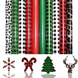Christmas HTV Heat Transfer Vinyl 10 Sheets 12' x 10' Assorted Leopard Plaid Print Iron on Vinyl for Cricut DIY Clothes Bag Hat Pillow Crafts