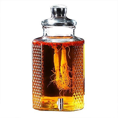 CSQHCZS-FQ Glazen drankdispenser met lekvrije keel, houten sokkel en deksel -5L / 10L inmaakglazen drankdispenser - voor limonade, thee, koud water ++