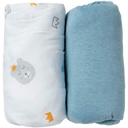 Babycalin Draps Housse - Blanc/bleu - 60 x 120 cm - Lot de 2