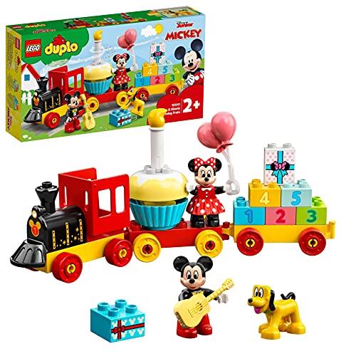 LEGO 10941 Duplo Disney Tren de Cumpleaños de Mickey y Minnie, Tren de Juguete para Niños, Incluye a Pastel y Globos de Cumpleaños