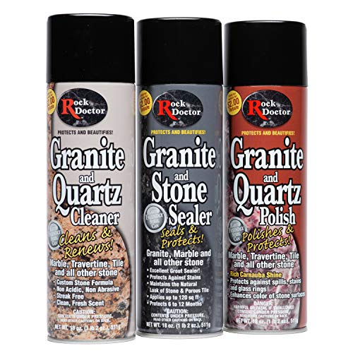 Rock Doctor Granite & Quartz Care Kit, 3 Piece Maintenance Stone Care Combo Kit – Cleans & Renews Marbel, Travertine, Tile and All Other Stone (18oz Each)