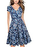oxiuly Women's Vintage V-Neck Cap Sleeve Floral Casual Cocktail Party Swing Dress OX233 (L, Blue White)