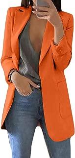 FSSE Women's Casual Open Front Solid Color Cardigan Work Office OL Blazer Jacket Suit Coat Orange XXS