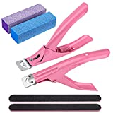 2 Pack Tip Cutter, Stainless Steel Acrylic Fake False Nail Tip Clipper Cutter Trimmer and Nail Files and Buffer Nail Clipper for Beauty Use Manicure Tools,(Pink)