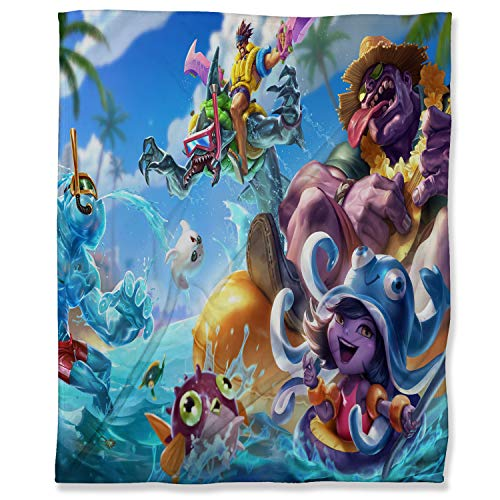 ARYAGO Lightweight Thermal Fleece Blankets 100 x 130 cm, League Legends Fuzzy Flannel Blanket Throw for Couch, Pool Party Mundo Draven Lulu Reksai Zac