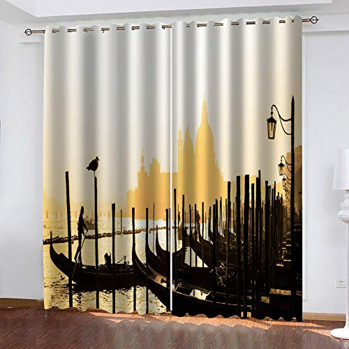 ZJZWLW Blackout Curtains 79X84 Inch Pier Harbor Pattern at Dusk Home Fashion 100% Polyester Curtain Super Soft Thermal Insulated Bedroom Curtains Blackout Eyelet Curtains for Living Room 2 Panels