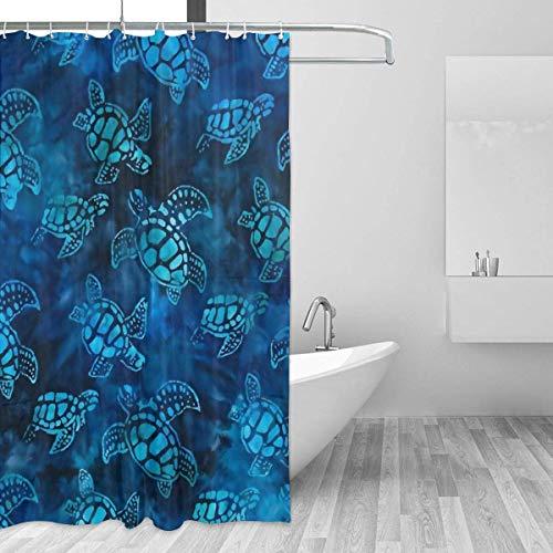 Meeresschildkröten Batik-Duschvorhang Wasserdichter Polyester-Stoffvorhang für die Badezimmerdusche Hochleistungs-Duschvorhang mit Metall-Ösenhaken