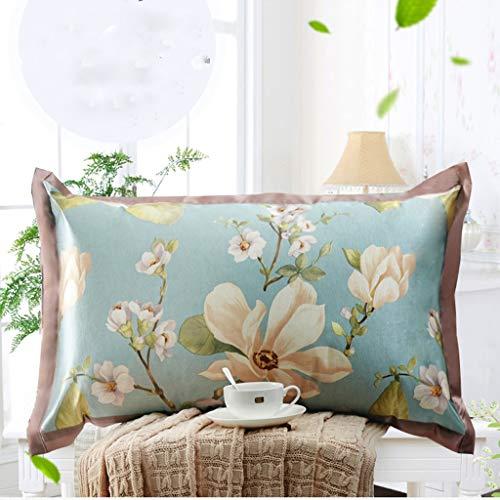 WERTDERTO Ice Silk Pillowcase zomer jacquard volwassenen beschikbaar enkele kussensloop rotan achtergrond kussens tweepersoonsbed verticaal en horizontaal 48 * 74cm Pair (kleur: blauw)
