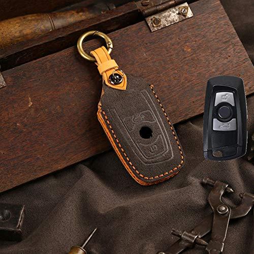YKANZS Funda para Llave de Cuero de Gamuza para Coche, para BMW 520525 F30 F10 F18 118i 320i 3 5 7 Series X3 X4 M3 M4 M5 Carcasa Protectora
