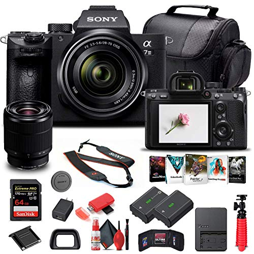 Sony Alpha a7 III Mirrorless Digital Camera with 28-70mm Lens (ILCE7M3K B) + 64GB Memory Card + NP-FZ-100 Battery + Corel Photo Software + Case + External Charger + Card Reader + More (Renewed)