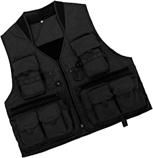 F Fityle Quick-Dry Fishing Vest with Zipper Multi Pockets, Sleeveless Hunting Waistcoat, Breathable Travel Photography Jackets